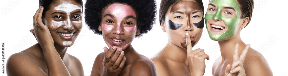 Fototapety, obrazy: Beautiful multi-ethnic group of girls with colorful peel-off masks on their faces