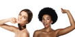 Caucasian and African girls. Comparison of different types of hair and skin tones.