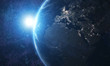 World and sun realistic 3D rendering. Shiny sunlight over Planet Earth, cosmos, atmosphere. Shot from Space satellite - İllüstrasyon