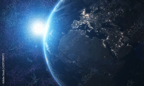 Spoed Fotobehang Heelal World and sun realistic 3D rendering. Shiny sunlight over Planet Earth, cosmos, atmosphere. Shot from Space satellite - İllüstrasyon