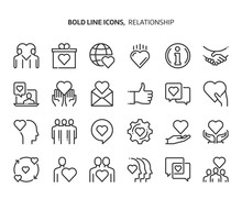 Relationship Bold Line Icon Set. The Set Is About Love, Heart, Friendship, Valentine, Partnership, Vector, Editable Stroke, Line, Outline.