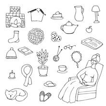 Hand Drawn Cozy Home Elements. Sketch Vector Illustration.