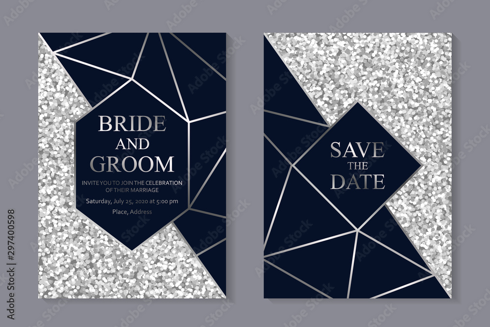 Fototapeta Set of modern geometric luxury wedding invitation design or card templates for business or presentation or greeting with silver lines on a navy blue and glitter background.