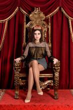Portrait Of Cute Queen Sitting...