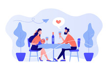 Happy Couple In Love On Romantic Date Sitting At Table And Drinking Wine, Tiny People. Romantic Date, Romantic Relationship, Love Story Concept. Pinkish Coral Bluevector Isolated Illustration