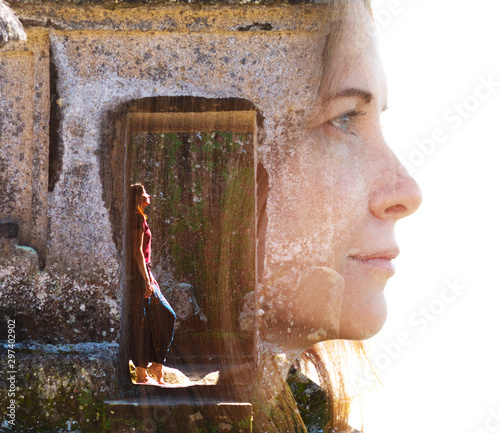 Double exposure of female traveller combined with peaceful temple setting in sou Canvas Print
