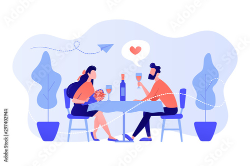 Obraz Happy couple in love on romantic date sitting at table and drinking wine, tiny people. Romantic date, romantic relationship, love story concept. Pinkish coral bluevector isolated illustration - fototapety do salonu