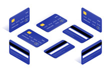 Credit Card Isometric Icons Big Set