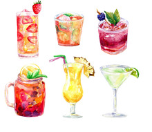 Watercolor Signature Cocktails Clipart, Watercolor Drink Illustration, Summer Cocktails, Summer Party, Wedding Clipart