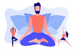 Teacher meditating in lotus pose and tiny people learning to do yoga exercises. Yoga school, open yoga studio, learn more about practice concept. Pinkish coral bluevector isolated illustration
