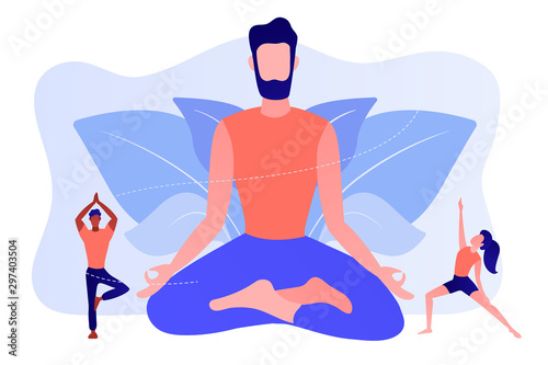 Fotomural Teacher meditating in lotus pose and tiny people learning to do yoga exercises