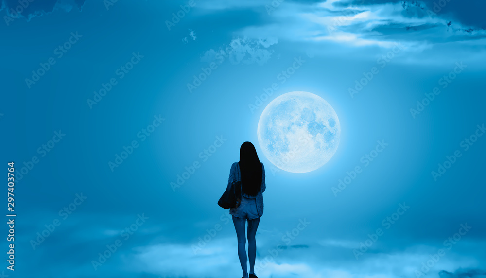 Fototapety, obrazy: Beautiful woman walks on the clouds and Night sky with full moon