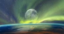 "Northern Lights Aurora Borealis Over Planet Earth With Full Moon ""Elements Of This Image Furnished By NASA"""