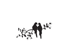 Birds On Branch Vector, Wall Decals, Birds Couple In Love, Birds Silhouette On Tree And Hearts Illustrations Isolated On White Background .Art Decoration, Wall Decor
