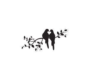 Panel Szklany Ptaki Birds on Branch Vector, Wall Decals, Birds Couple in Love, Birds Silhouette on tree and Hearts Illustrations isolated on white background .Art Decoration, Wall Decor