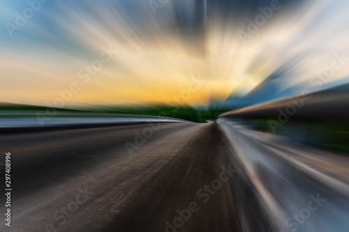 Платно Blurred asphalt road blurred blue sky