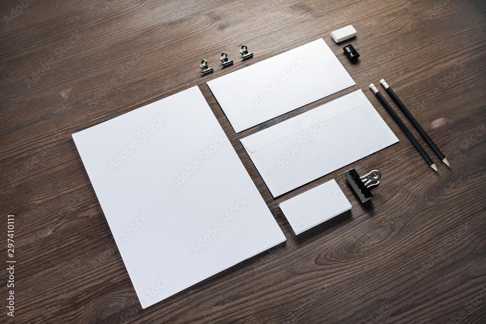 Fotografía Blank corporate stationery set on wood table background