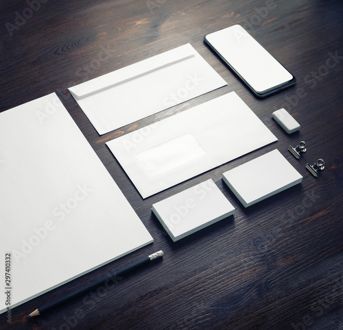 Fototapeta Blank stationery and corporate identity template on wood table background. Responsive design mockup. obraz