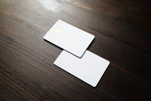 Photo Of Two Blank Credit Card...