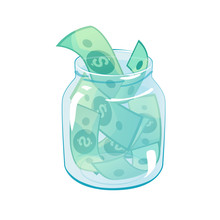 Glass Jar With Dollars. Financial Investment Concept. Save Money In Bank, Banking Security Design. Cash Savings In Bottle. Charity, Donation Vector Illustration Template Isolated White Background.