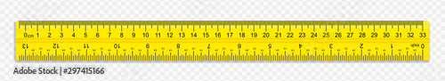 Fototapeta A ruler of yellow color 30 centimeters with shadows isolated on a white background