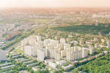 City Houses In The Metropolis With The Effect Of Miniatures, Tilt Shift, Cityscape, View Of The City Top