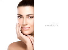 Beautiful Model Girl With Hand On Face. Skincare Concept
