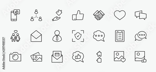 Set of Social Networks Related Vector Line Icons Wallpaper Mural