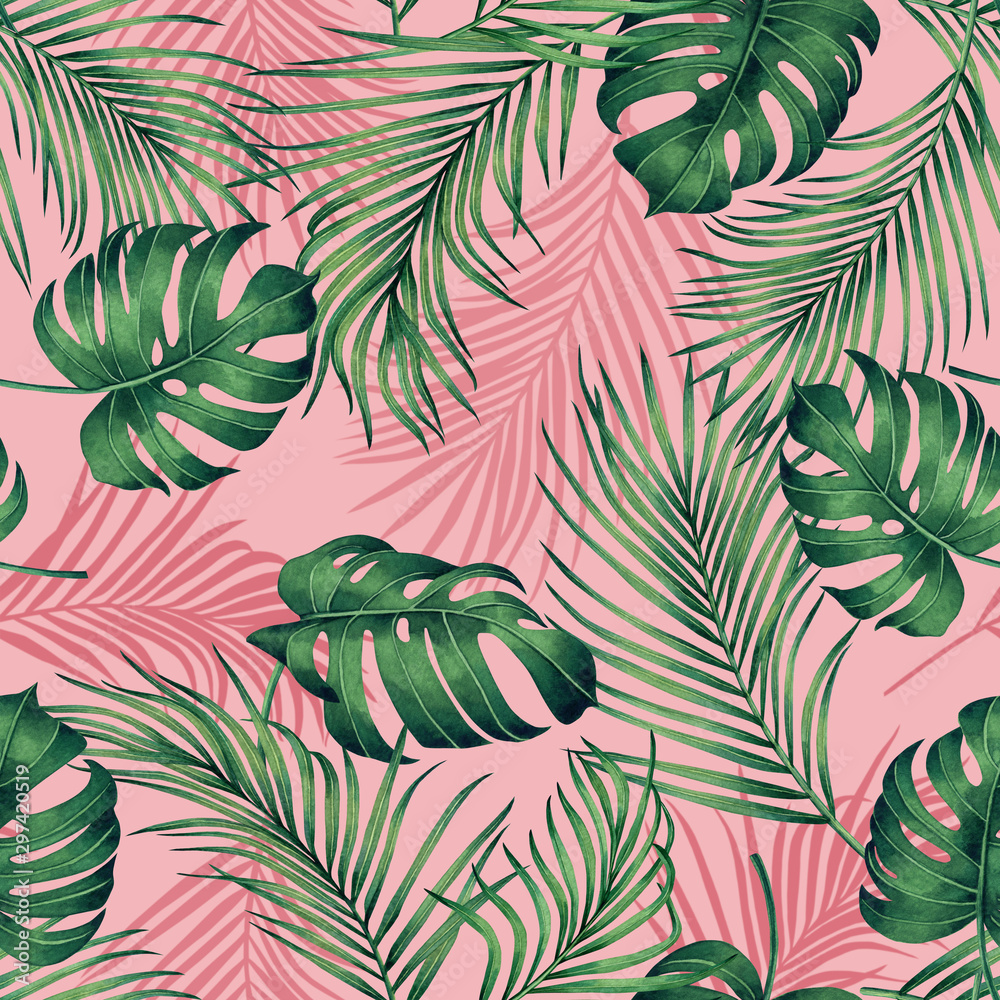 Fototapety, obrazy: Watercolor painting monstera,coconut leaves seamless pattern with shadow on pink background.Watercolor llustration palm,pink leaf,tree tropical exotic leaf for wallpaper textile vintage Hawaii style.