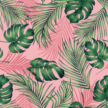 Watercolor Painting Monstera,coconut Leaves Seamless Pattern With Shadow On Pink Background.Watercolor Llustration Palm,pink Leaf,tree Tropical Exotic Leaf For Wallpaper Textile Vintage Hawaii Style.