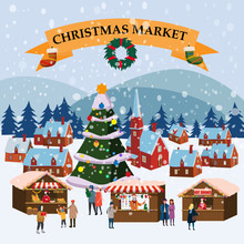 Christmas Market Or Holiday Winter Outdoor Fair On Town Square Big New Year Tree
