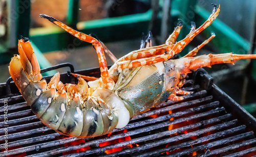 Lobster grill steamed flames sizzling Food Background Canvas Print