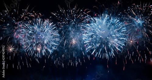 Fotografie, Tablou  Fireworks background, Festival anniversary, New Year Christmas show