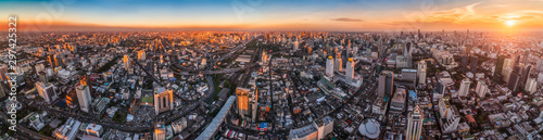 Foto auf Gartenposter Grau Verkehrs Wide Panoramic View of Bangkok, Thailand. Cityscape with Skyscrapers at Sunset