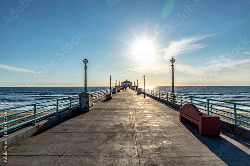 scenic pier at Manhattan Beach near Los Angeles in sunset Canvas Print