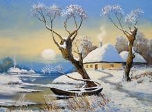 Oil Paintings Rural Winter Lan...