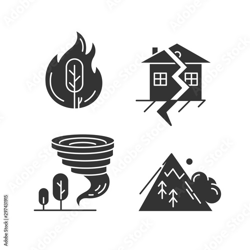 Photo Natural disaster glyph icons set