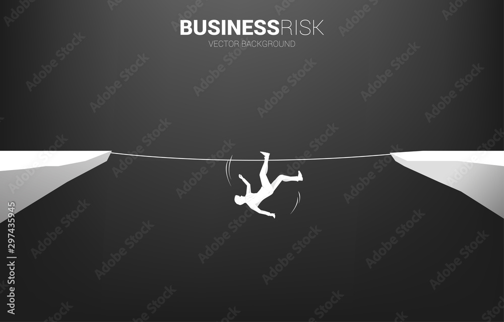 Fototapety, obrazy: Silhouette of businessman falling down from rope walk way.Concept for business risk and fail