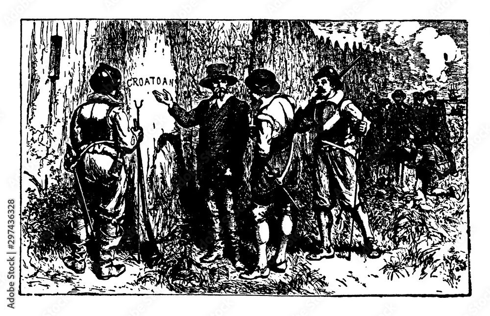 Fototapeta The Lost Colony,vintage illustration