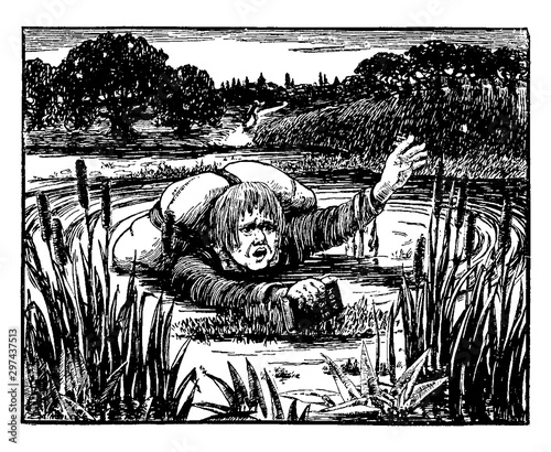 In the Slough of Despond, vintage illustration Tablou Canvas