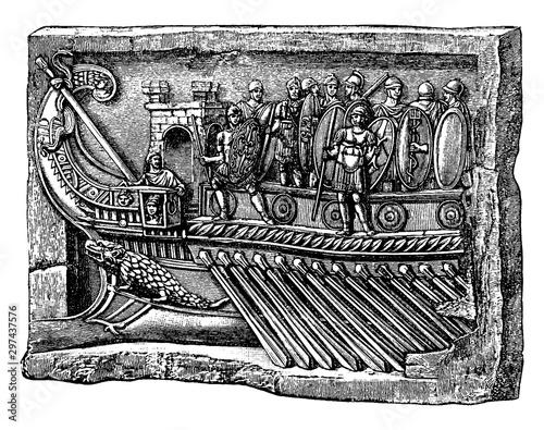 Prow of a Roman War Ship, vintage illustration. Fotobehang