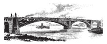 St Louis Bridge, Vintage Illustration.