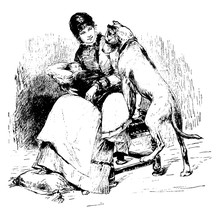 Woman Holding Baby With Dog, Vintage Illustration