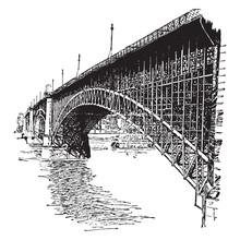 Eads Bridge, Vintage Illustrat...