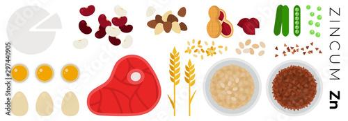Fotografía Vitamin Zincum foods vector flat icons set