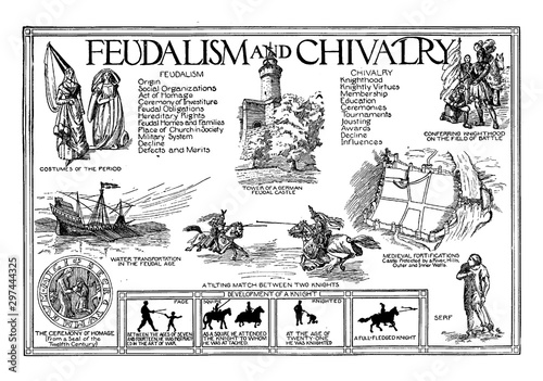 Fotografía Feudalism and Chivalry, vintage illustration.