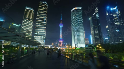 hyper lapse of sunset, Shanghai Lujiazui financial center, China Canvas Print