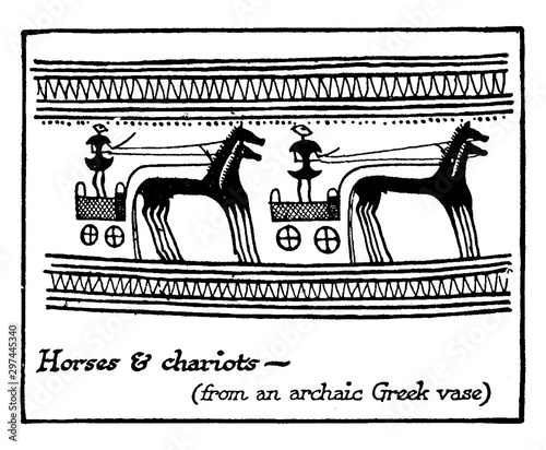 Photo Aryan Speaking People Horses and Chariots, vintage illustration.