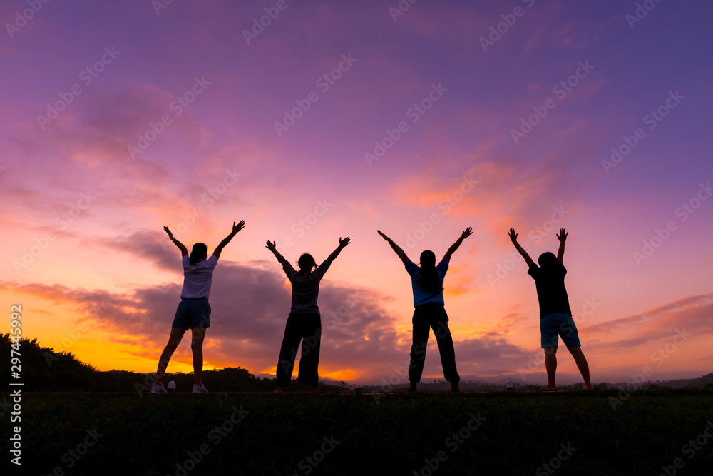 Fototapety, obrazy: Group of healthy girl show hands with  sunset background.Healthy exercise lifestyle concept.