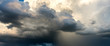 Panorama perfect Dark sky and dramatic black cloud before rain.rainy storm over rice fields Sisaket province Thailand.